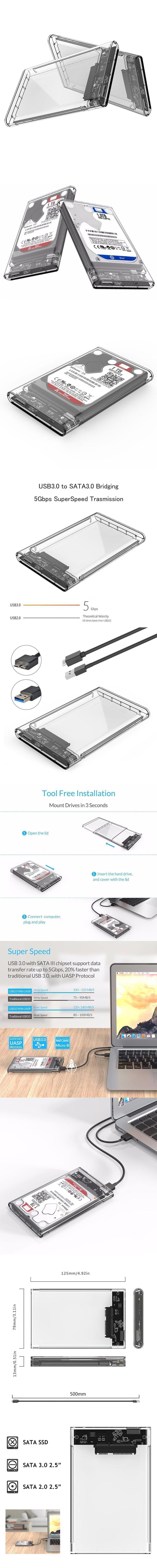 2.5 pollici Trasparente USB 3.0 HDD Case strumento Telaio disco rigido SATA UK