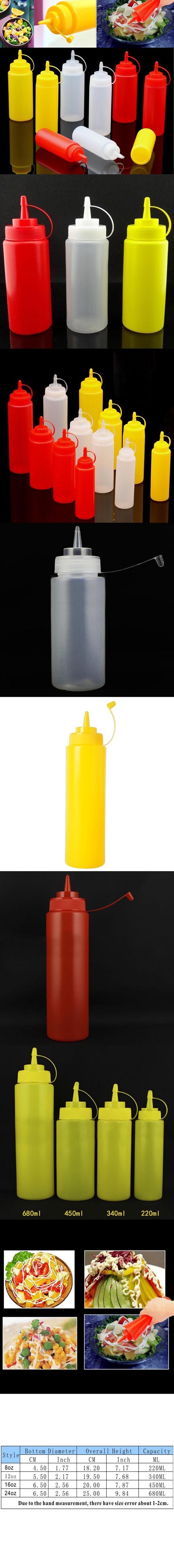 24//16//8oz Klar Kunststoff Squeeze Flasche Gewürzspender-Ketchup Senf-Sauce Essig