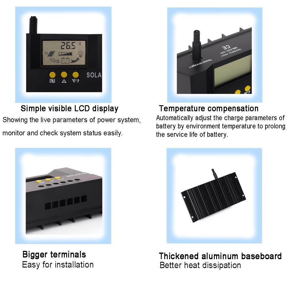 30A 50A PWM Solar Laderegler Solarregler Batterie Regulator 12V ...