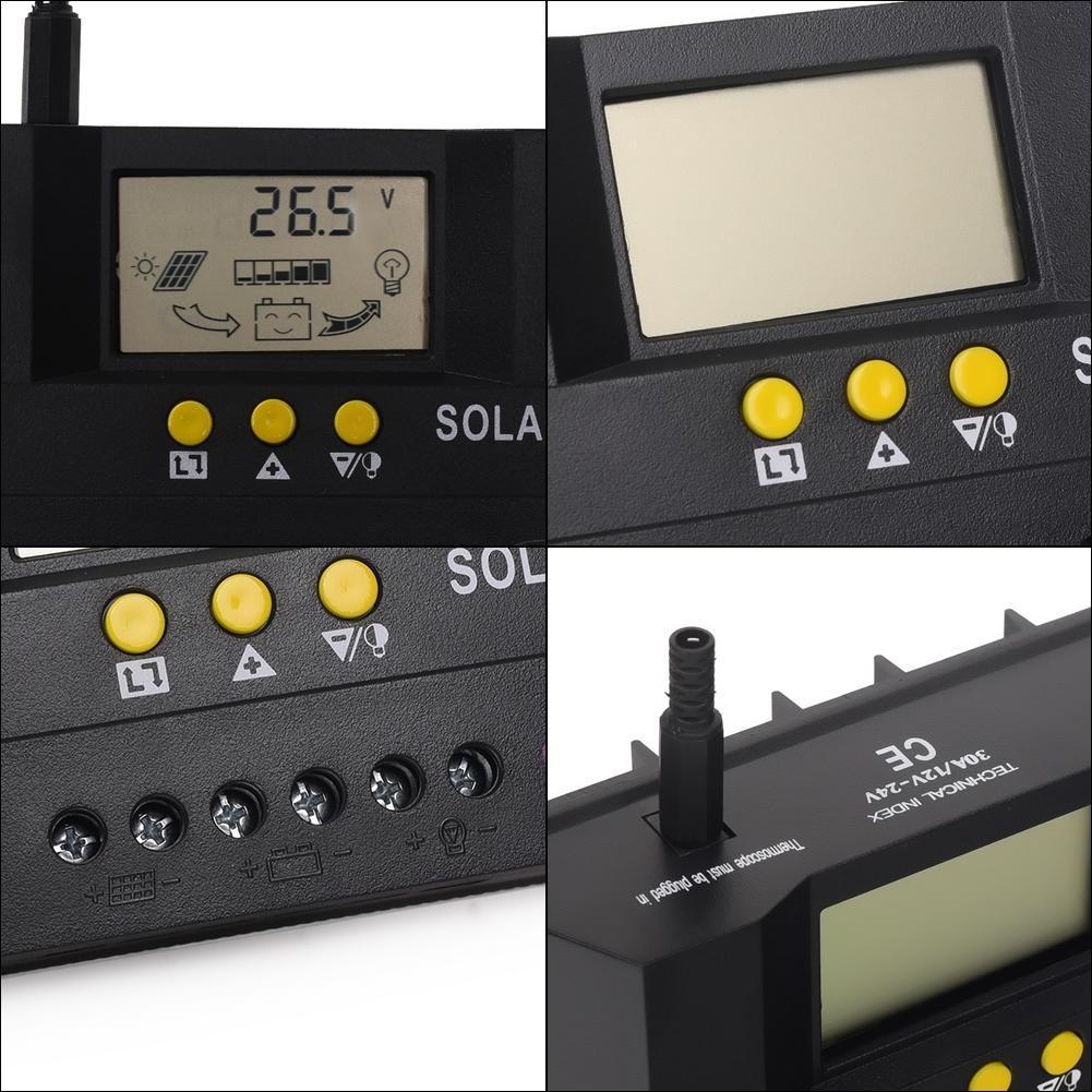 Solar Laderegler Solarregler PWM 30A LCD 12V/24V Controller+ ...